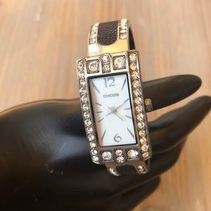 Chico's Black Leather Crystal Bangle Watch!
